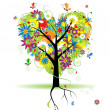 Summer floral tree, heart shape — Stock Vector #3209944