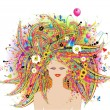 Woman face, festive floral hairstyle — Stock Vector