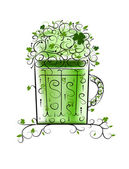 Green Patrick's beer for your party — Stock Vector