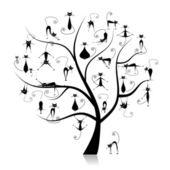Family cats tree, 27 black silhouettes funny — Stock Vector