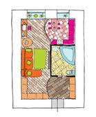 Interior design apartments - top view — Stock Vector