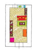 дизайн интерьера квартир - вид сверху — Cтоковый вектор