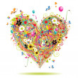 Summer holiday, heart shape - Image vectorielle