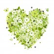 Floral heart shape, summer green — Image vectorielle