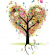 Happy holiday, heart shape tree — Imagen vectorial
