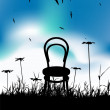 Chair on meadow summer, black silhouette — Stock Vector