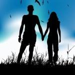 Couple walking on summer meadow — Stock Vector