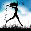 Young woman running on summer meadow — Stock Vector