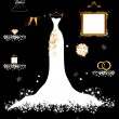 Wedding shop, white dress and accessory - Stock Vector