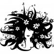 Floral hairstyle, woman silhouette - Stock Vector
