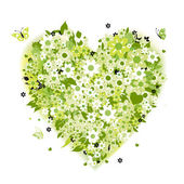 Floral heart shape, summer green — Stok Vektör