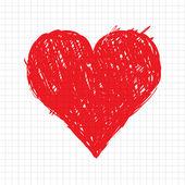 Esboce a forma de coração vermelha para seu projeto — Vetor de Stock