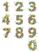 Numbers, floral design — Vector de stock