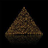 Golden pyramid on black — Stock Vector