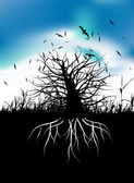 Tree silhouette with roots — Stock Vector