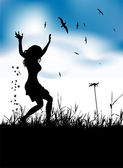 Young woman dancing on summer meadow — Stock Vector