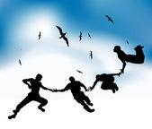 Happy přátelé létají v nebi — Stock vektor