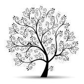 τέχνη δέντρο όμορφη, μαύρη σιλουέτα — Διανυσματικό Αρχείο