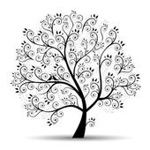 Art tree beautiful, black silhouette — Vetorial Stock