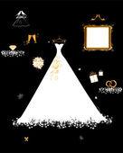 Tienda de la boda, vestido de blanco y accesorios — Vector de stock