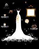 Wedding shop, white dress and accessory — Stock Vector