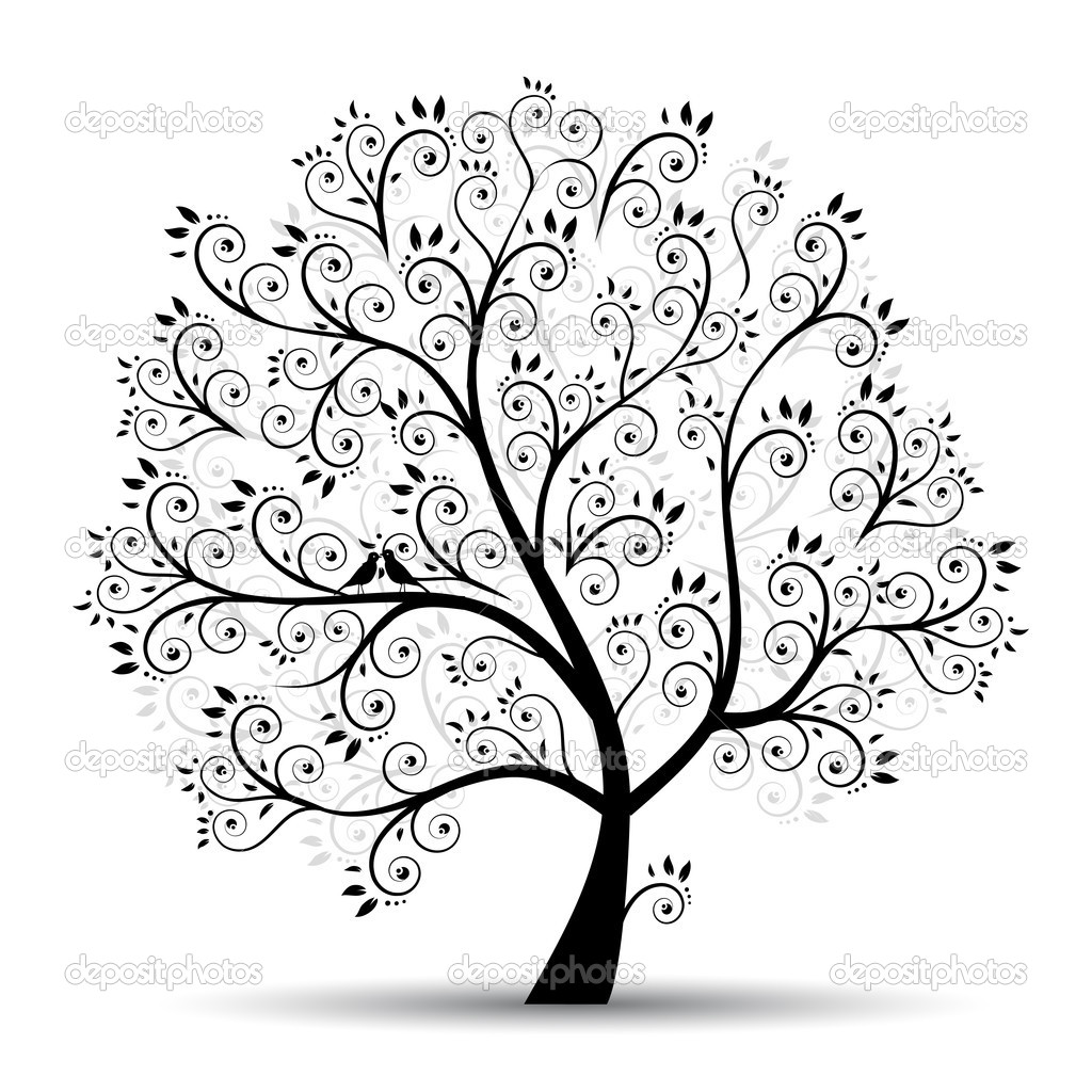 Art tree beautiful, black silhouette — Imagen vectorial #3210195