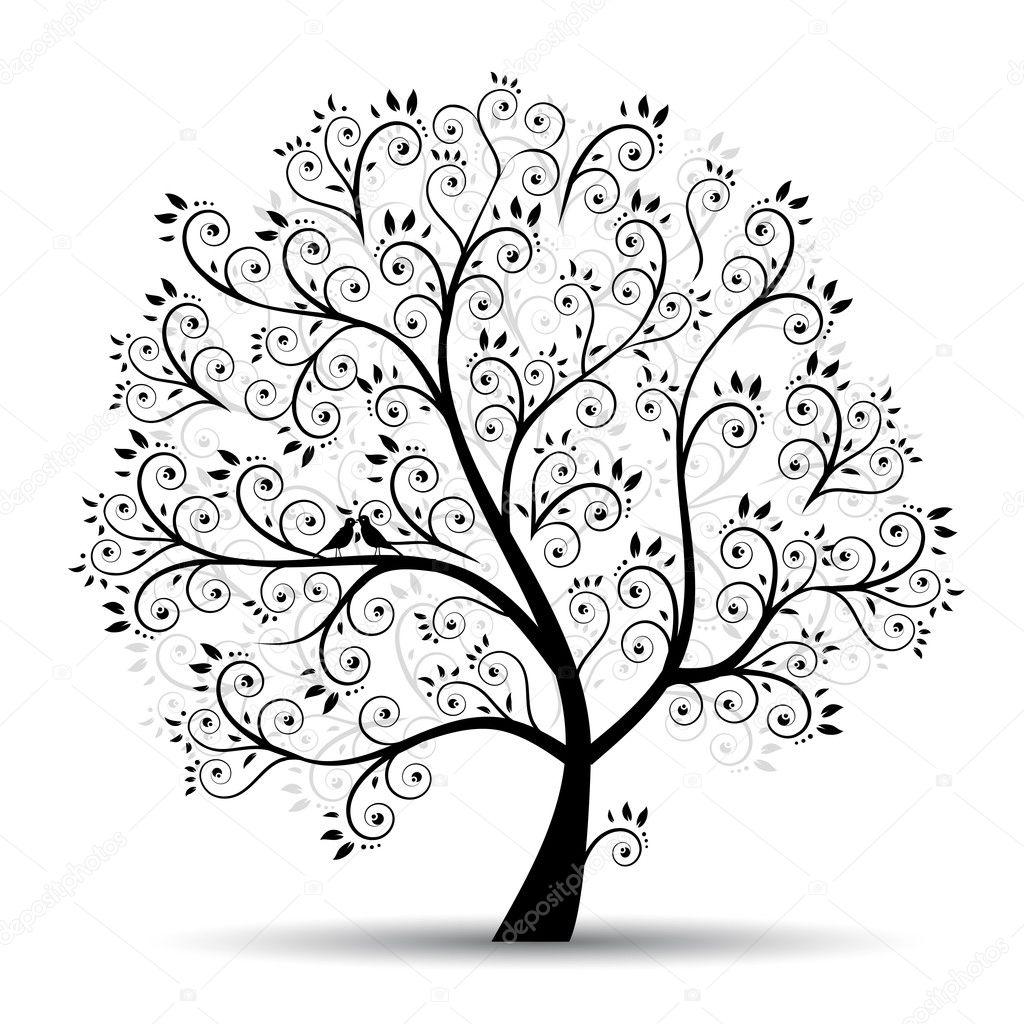 Art tree beautiful black silhouette stock illustration