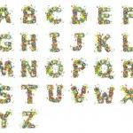 Alfabet, floral design. — Stock Photo