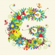 Letter G, floral design — Stock Vector