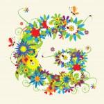 Letter G, floral design — Stock Vector