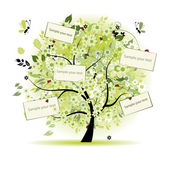Wish tree floral with cards for your text — Stock Vector