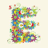 Letra e, design floral. — Vetor de Stock