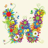 Lettre w, design floral. — Vecteur