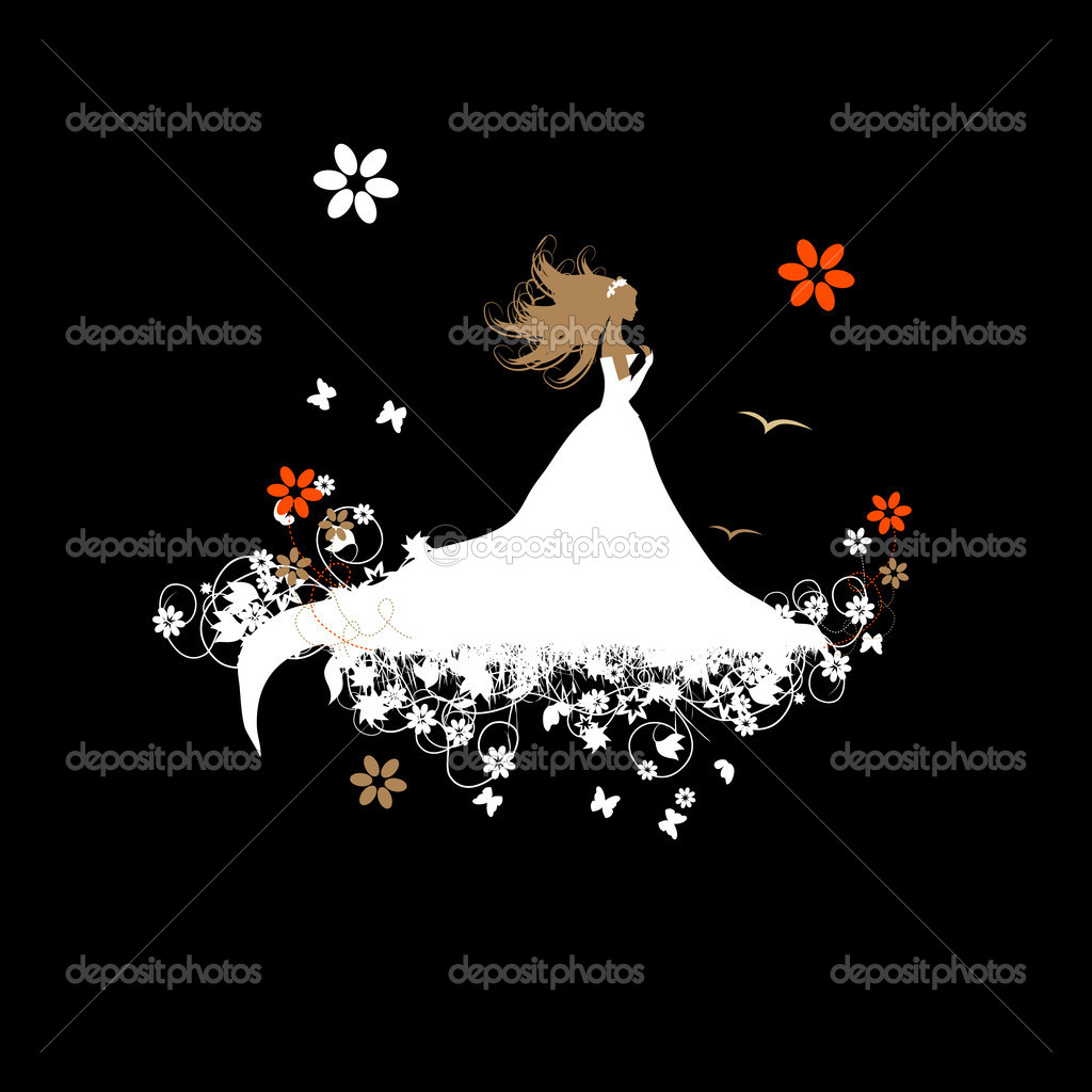 Bride beautiful, vector illustration for your design — Stock Vector #3233586