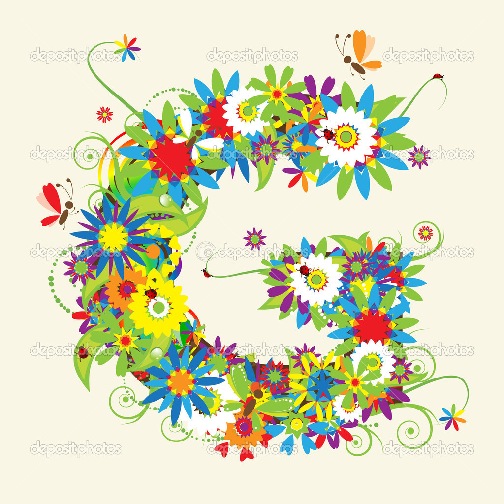 Letter G, floral design — Stock Vector © Kudryashka #3233772