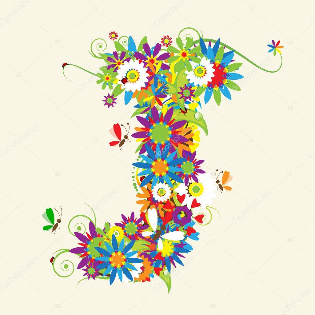 Letter J  floral...J Design Letter