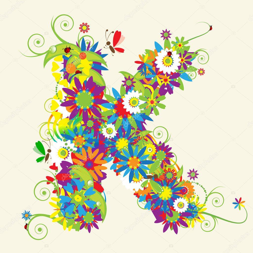 Oslikaj slova  azbuke - Page 6 Depositphotos_3233796-Letter-K-floral-design.
