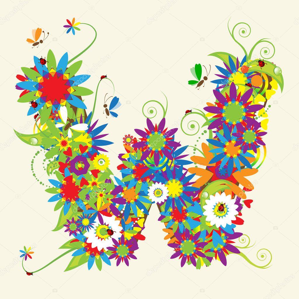 Letter W  floral...W Letter Design