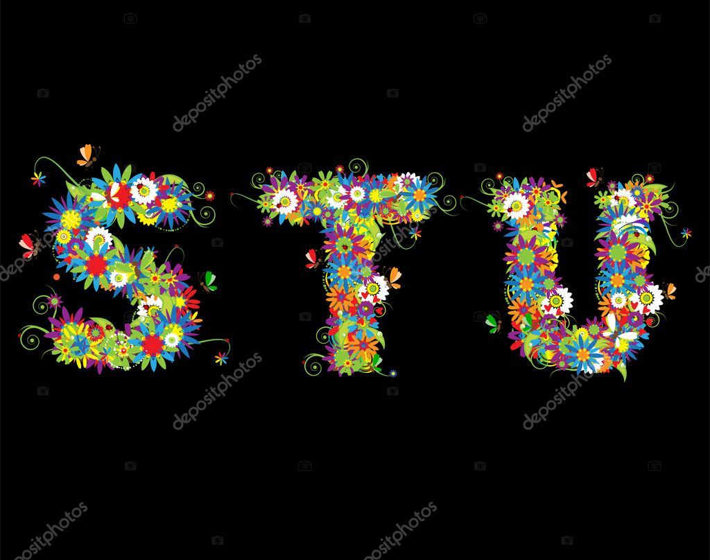 Alfabet, floral design. See also letters in my gallery — Imagen vectorial #3233953