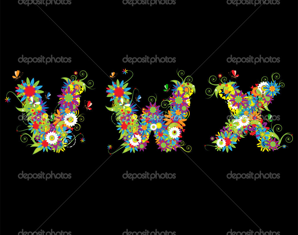 Alfabet, floral design. See also letters in my gallery  Stock Vector #3233977