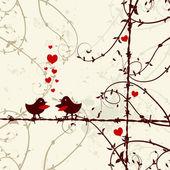 любовь, поцелуи на ветке птицы — Cтоковый вектор