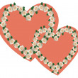 Ornament from wedding colors in the form of two bound hearts — Stock Photo