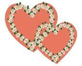 Ornament z ślub kolory w postaci dwóch serc związane — Zdjęcie stockowe