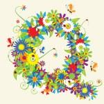bokstaven q, blommönster. Se även bokstäver i mitt galleri — Stockvektor