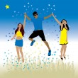 Stock Vector: Boy and girls dance on a meadow