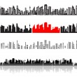City landscape, silhouettes of houses black — Stock Vector