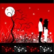 Stock Vector: Couple walks on a flower meadow at night