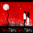 Couple walks on a flower meadow at night — Stock Vector