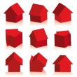 Collection of houses red, icon - Stock Vector