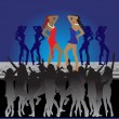 Girls dancing on dance floor in nightclub — Stock Vector